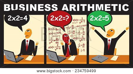 Vector Comic With A Businessman Who Solves A Complex Arithmetic Problem. Unconventional Thinking