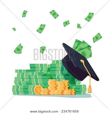 Education And Money Vector Illustration, Flat Cartoon Graduation Hat And Coins Cash, Concept Of Scho