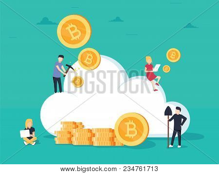 Cryptocurrency Cloud Mining. Flat Design Style Web Banner Of Blockchain Technology, Bitcoin And Altc
