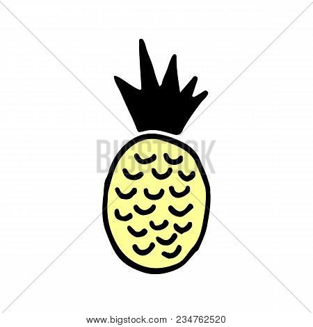 Cute Cartoon Hand Drawn Pineapple Silhouette. Sweet Vector Colorful Pineapple Silhouette. Isolated F