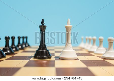 Struggle And Confrontation. Chess Board And Game Concept. Business Ideas, Competition, Strategy And
