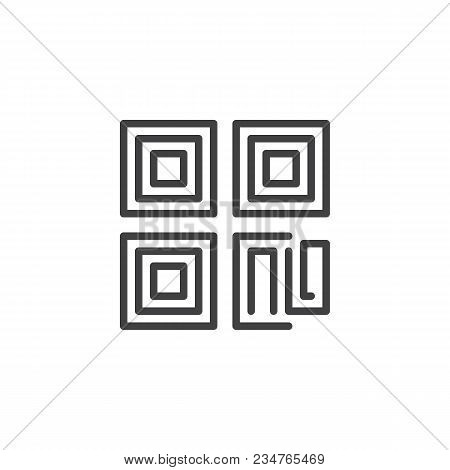 Qr Code Outline Icon. Linear Style Sign For Mobile Concept And Web Design. Simple Line Vector Icon.