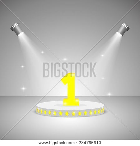 Spot Lights Vector. Pedestal Illuminated By Spotlights On A Light Background. Realistic Scene Illumi
