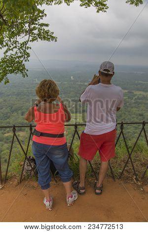 Matale, Sri Lanka- January 28, 2014: Unidentified Tourists At Sigiriya Rock Fortress At Matale. Sigi