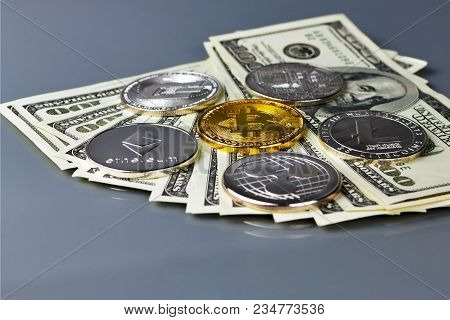 Coins Of Different Crypto-currencies. Bitcoin Dash Ripple Ethereum Litecoin