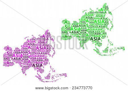 Sketch Asia  Violet Letter Text Continent, Asia Word - In The Shape Of The Continent, Map Of Contine