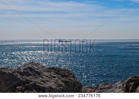 Cargo Ship In Mediterranean Sea, Palma, Majorca, Balearic Islands, Spain