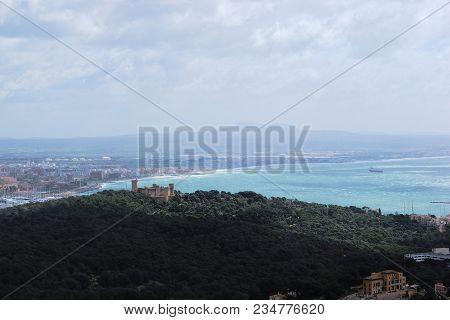 Landscape Of Majorca, Bellver Castle And Mediterranean Sea