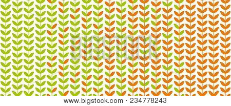 Green Spring Leaf Geometric Vintage Pattern. Simple Retro Style Stock Vector Illustration. For Card,