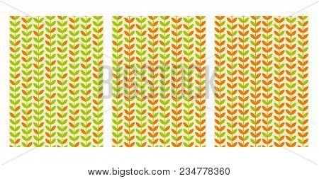 Green Spring Leaf Geometric Vintage Seamless Pattern. Simple Retro Style Stock Vector Illustration.