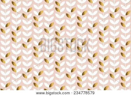 Elegant Gold And Pale Rosy Leaf Seamless Pattern. Simple Luxury Style Stock Vector Illustration. For