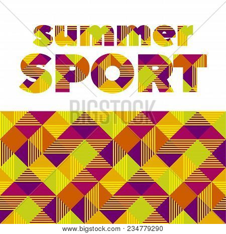 Summer Color Sport Abstract Seamless Pattern. Stock Vector Illustration. Stripe, Line Yellow And Red