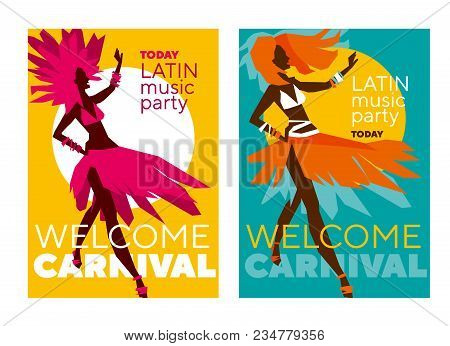 Latin  Music Carnival Poster. Tropical Color Sketch-style Rumba Girl For Party Poster, Invitation, C