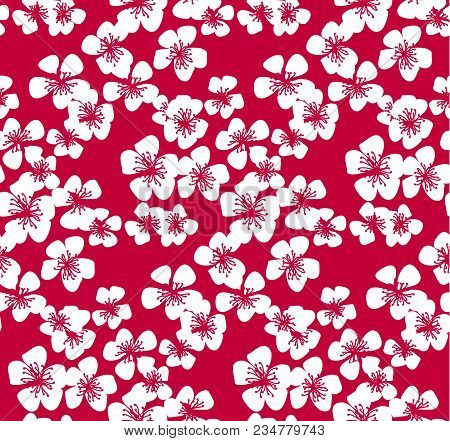 Red Pattern With White Sakura Flower. Stock Vector Illustration. Abstract Floral Decorative Design E