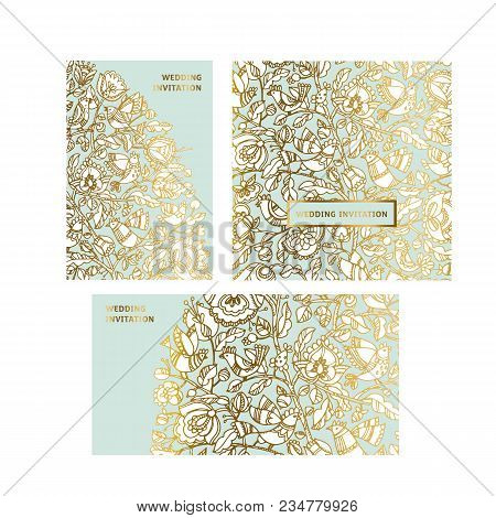 Gold And Mint Color Folk Decorative Pattern. Boho Style Hand Drawn Stock Vector Illustration. Fairy