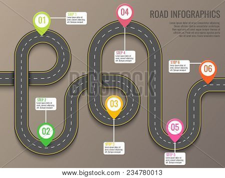 Infographics Vector Template With Road Map Using Pointers. Top View Vector Elements. Road Trip. Busi