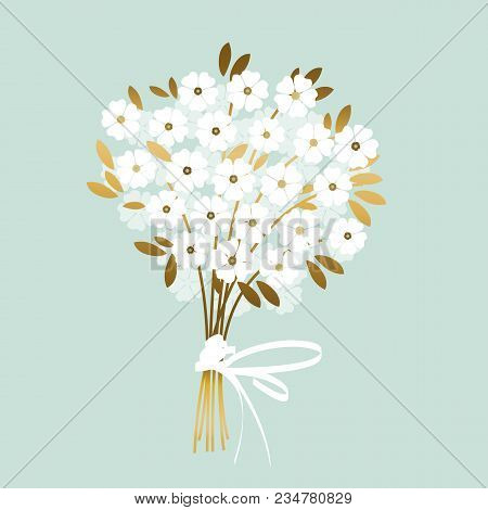 Luxury Wedding White Flowers With Gold Leaves. Elegant Stock Vector Illustration. Floral Decorative