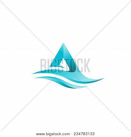 Agua Icon Is Built On The Basis Of The Letter A Or Triangle, The Symbol Of The Rock, The Coast, The