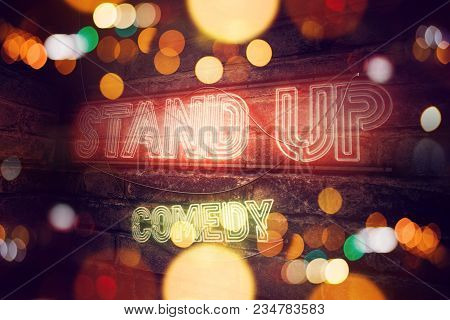 Stand Up Comedy Neon Sign Conceptual 3d Rendering Illustration