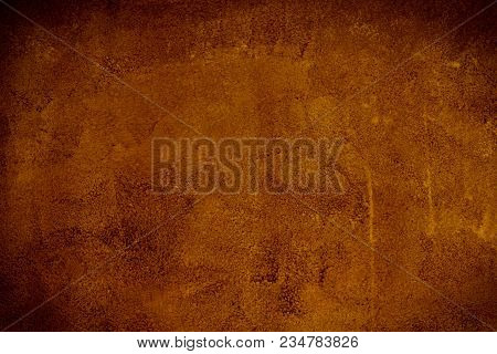 Gold Brown Background Paper With Vintage Grunge Background Texture With Black Scuffed Edges And Old