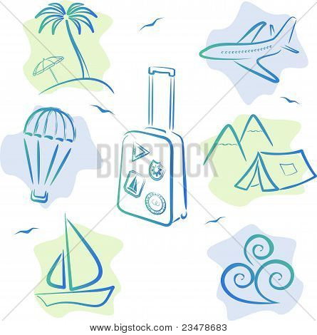 Travel and tourism Icons, vector illustration