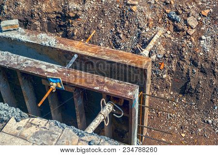 Poured For Concrete Formwork, Close Up View