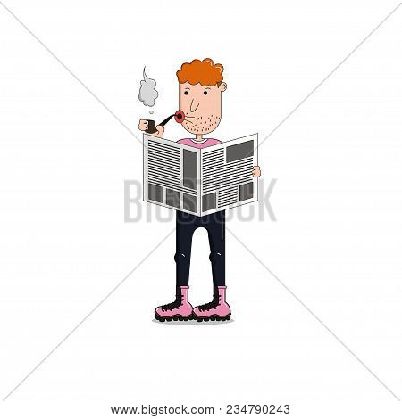 Man Is Smoking A Pipe And Reading A Newspaper. Men Is Standing With A Newspaper.