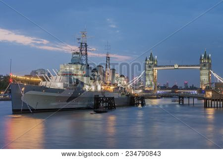 Thames, London-september 7,2017: Warship Hms Belfast On The River Thames In London, England. It Is T