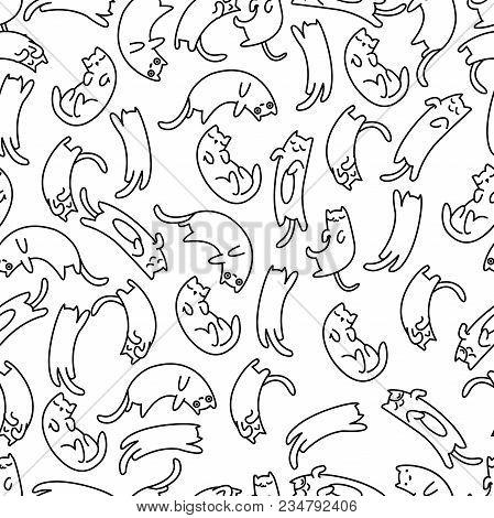 Seamless Pattern Lazy Cat On White Background, Vector Illustration