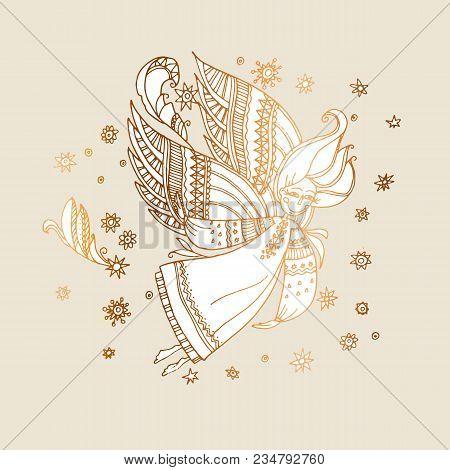 Elegant Rose Gold Decorative Girl Angel. Hand Drawn Stock Vector Illustration. Magic Fairy Tale Deco