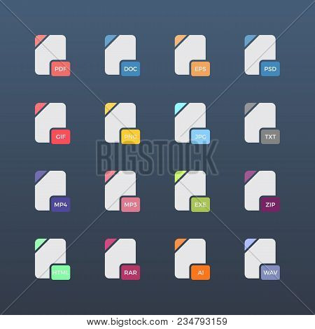 Flat File Format Icons. Audio, Video, Image, System, Archive And Document File Types.vector Illustra