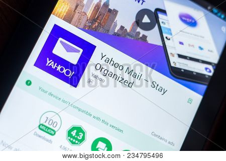 Ryazan, Russia - March 21, 2018 - Yahoo Mail App On A Display Of Tablet Pc