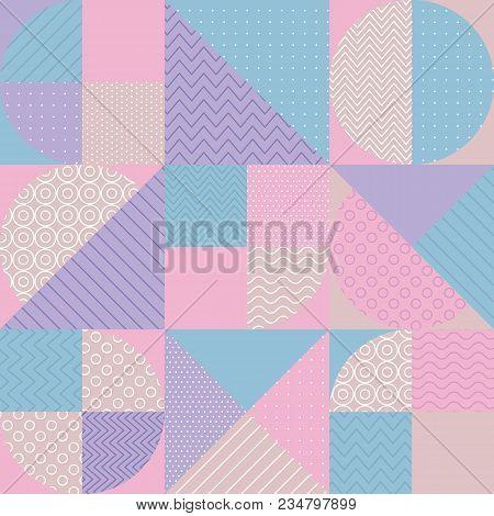 Concept Pastel Color Geometric Pattern. Stock Vector Illustration. Pale Spring Light Color Palette M
