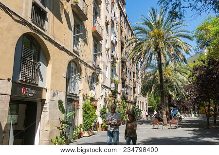 Barcelona, Spain - September 2, 2017: Old Streets Of The Gothic Quarter Of Barcelona, Catalonia. It