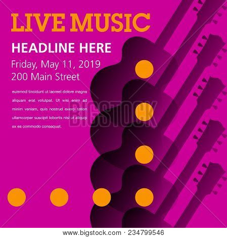 Cool Live Acoustic Guitar Show Graphic With Space For Text. Use As Guitar Event Design For Flyer, Po