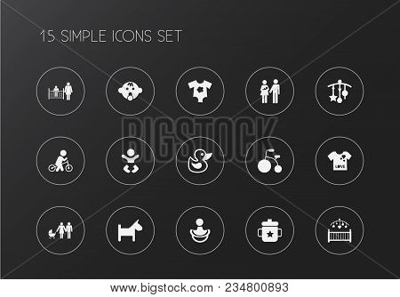 Set Of 15 Editable Baby Icons. Includes Symbols Such As Duck, Family, Toy And More. Can Be Used For