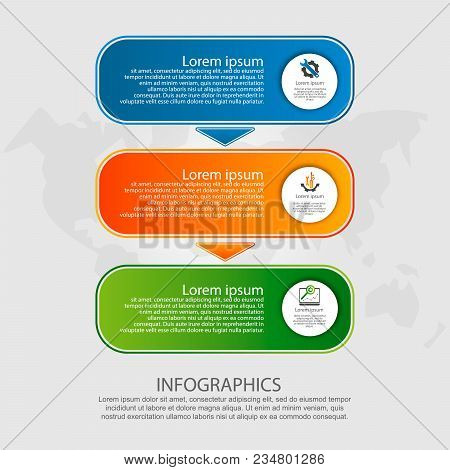 Modern Vector Illustration. Infographic Template With Three Elements, Arrows Of The Rectangle. Step