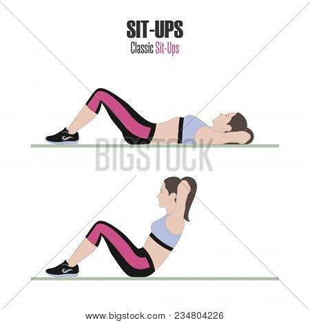 Sit-ups. Sport Exercises. Stage Of Sit-up. Exercises With Free Weight. Illustration Of An Active Lif