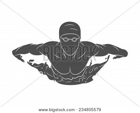 Silhouette Of A Swimmer Butterfly On A White Background. Photo Illustration