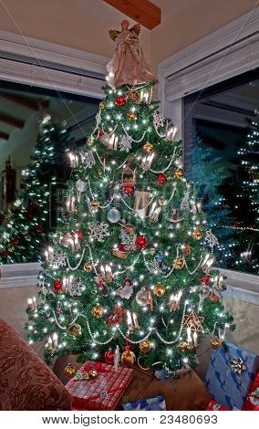 Vertical Tall Decorated Christmas Tree Indoors