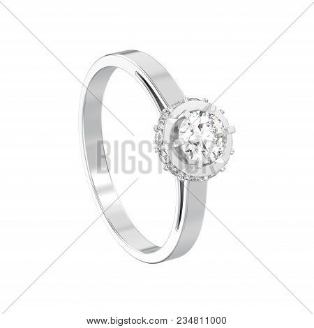 3D illustration isolated white gold or silver halo bezel pave diamond ring on a white background poster
