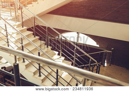 Staircase In Modern Buisness Center Building. Emergency Evacuation Exit. Stairs In Shopping Center.