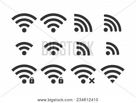 Wireless Signal Web Icon Set. Wi Fi Icons. Secured, Insecure, No Connection, Password Protected Icon