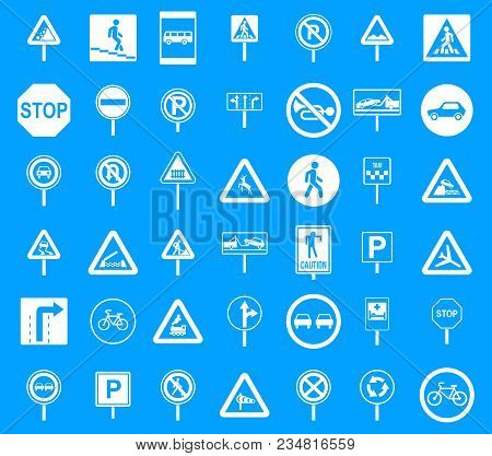 Road Sings Icon Set. Simple Set Of Road Sings Vector Icons For Web Design Isolated On Blue Backgroun