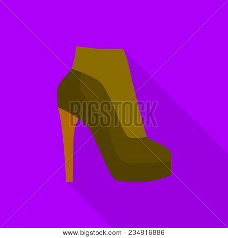 Heeled Boot Icon. Flat Illustration Of Heeled Boot Vector Icon For Web