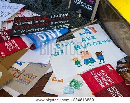 San Francisco, Ca - March 24, 2018: Various Discarded Signs For The March For Our Lives Rally In San