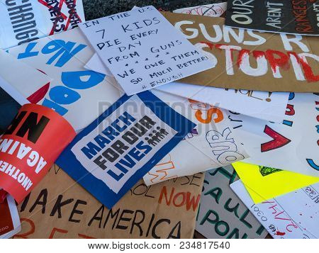 San Francisco, Ca - March 24, 2018: Pile Of Various Discarded Signs For The March For Our Lives Rall