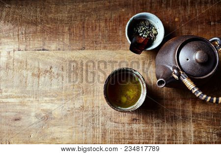 Still life with Green Tea in ceramik Japanese Tea Cup