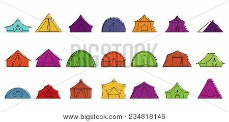 Tent Icon Set. Color Outline Set Of Tent Vector Icons For Web Design Isolated On White Background