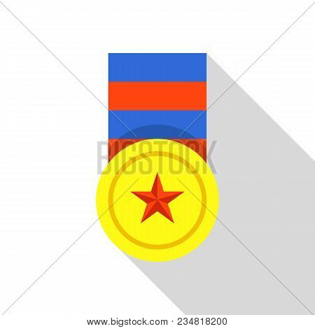 Winning Medal Icon. Flat Illustration Of Winning Medal Vector Icon For Web